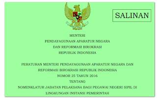 Jabatan Fungsional Umum PNS Diganti Dengan Jabatan Pelaksana Permen PANRB No: 25 Tahun 2016