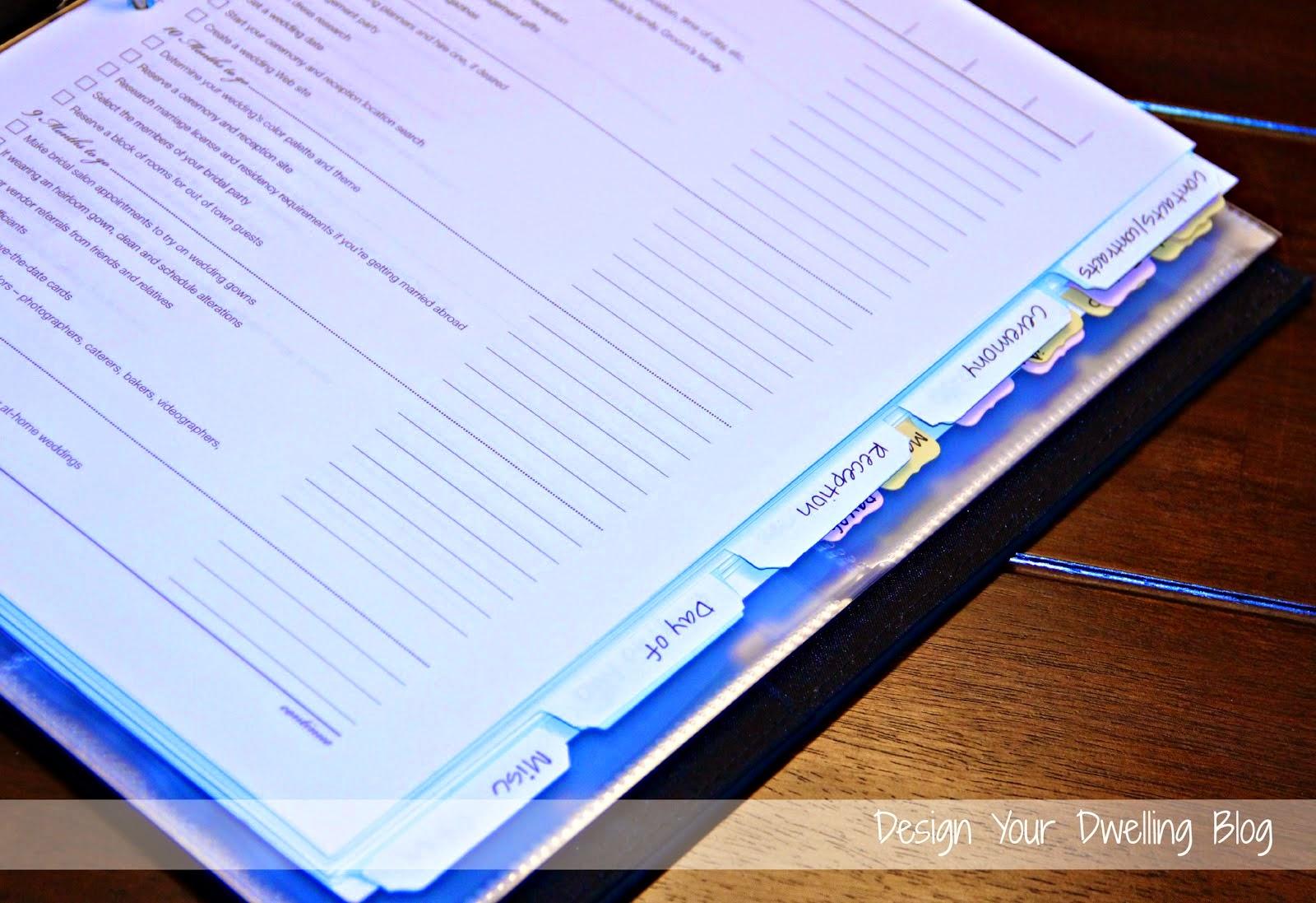 Wedding Planning Binder Tabs