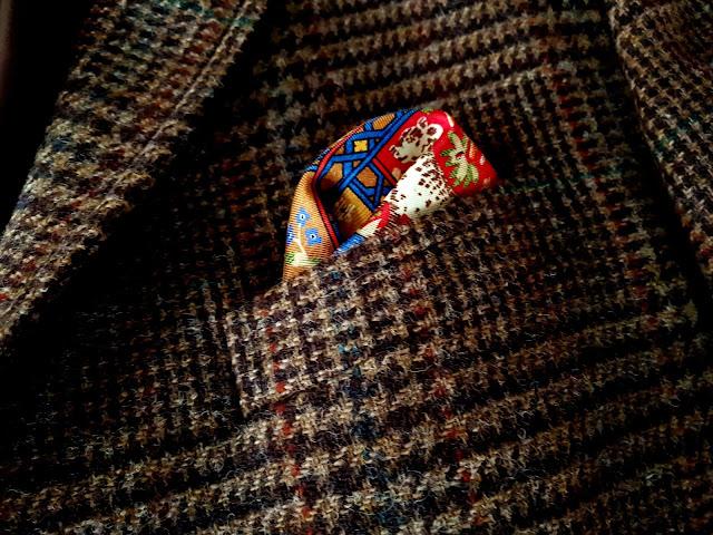 Ralph Lauren Glen Check Tweed jacket pocket square view