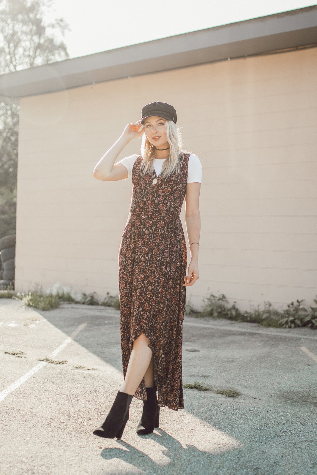 wrap dress layered over a tee
