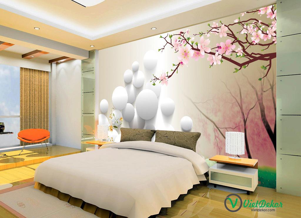 Tranh dán tường 3d hoa đào nở phòng ngủ đẹp