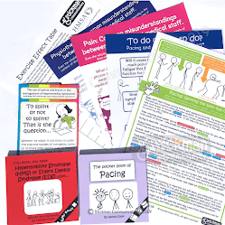 An array of small books, leaflets and information posters which are colourful and have stickman images on them