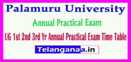 PU Palamuru University UG 1st 2nd 3rd Yr Annual Practical Exam Time Table 2018