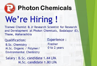 Photon Chemicals Required For B.Sc And M.Sc Fresher Candidates For Position Trainee Chemist And Jr Research Scientist