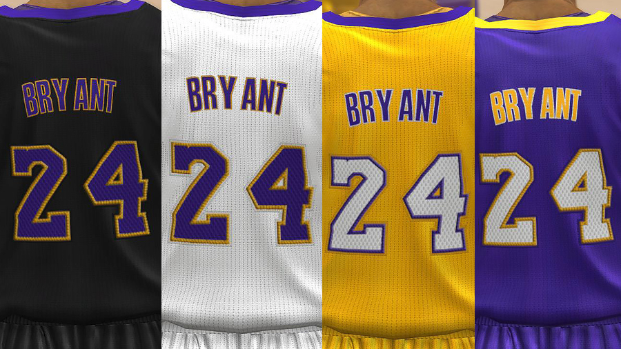 NBA 2K14 Lakers Realistic Jersey Texture Mod