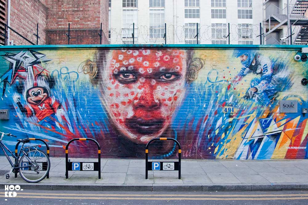 English Street Artist Dale Grimshaw's Wonderland Mural on Clifton Street, London