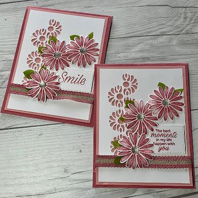 Cards made with Stampin' up Tasteful Background Dies & Daisy Lane