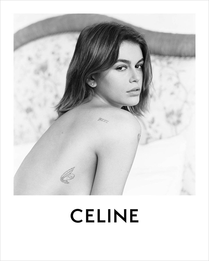 Kaia Geber poses for the Celine Spring/Summer 2021 Campaign