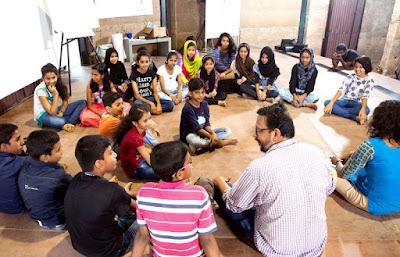 Children participating at Kochi Muziris Biennale ABC workshop in Cabral Yard,Fortkochi.