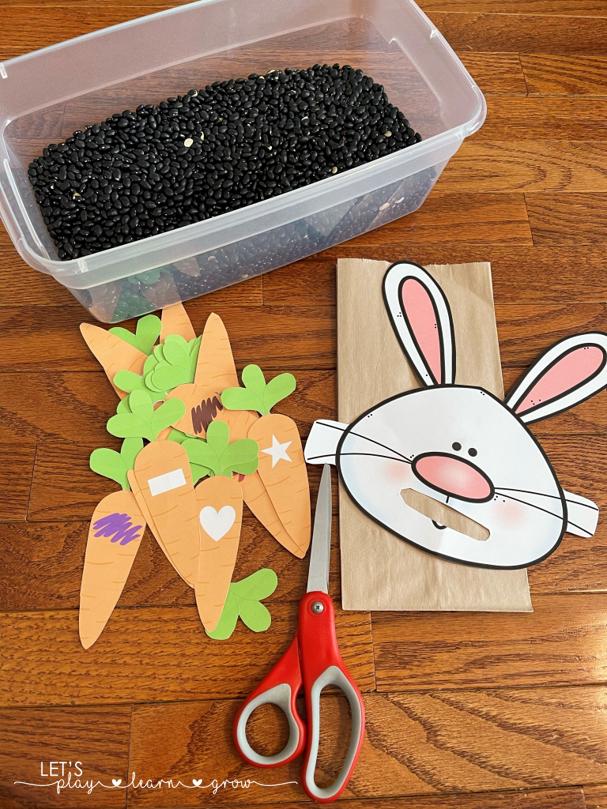 Feed the Bunny Color & SHape Carrots Freebie
