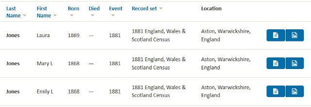 Findmypast search rules for Laura Jones in 1881 census of England