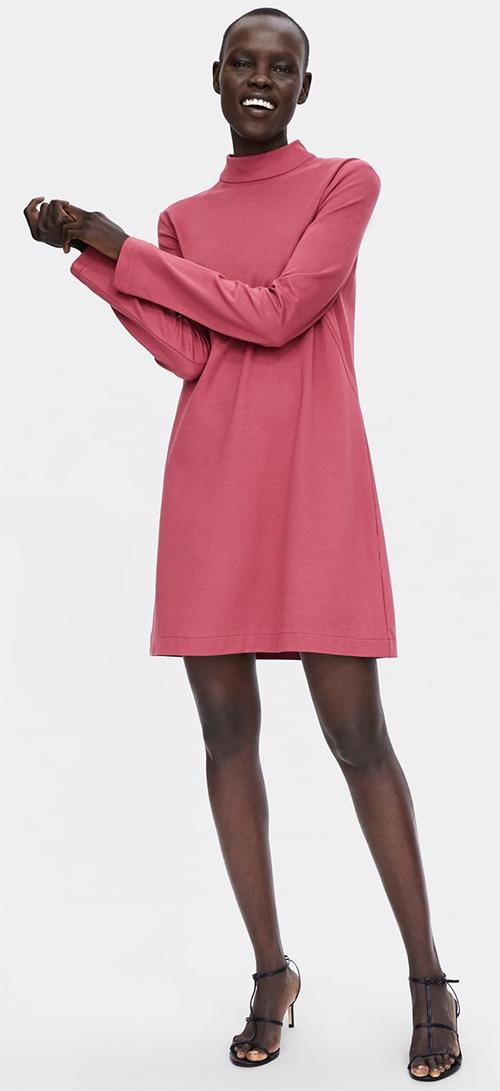 Robe courte rose manches longues Zara