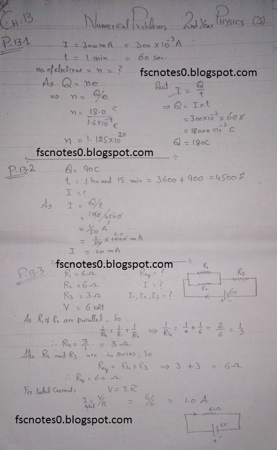 F.Sc ICS Notes: Physics XII: Chapter 13 Current Electricity Numerical Problems Asad Hussain