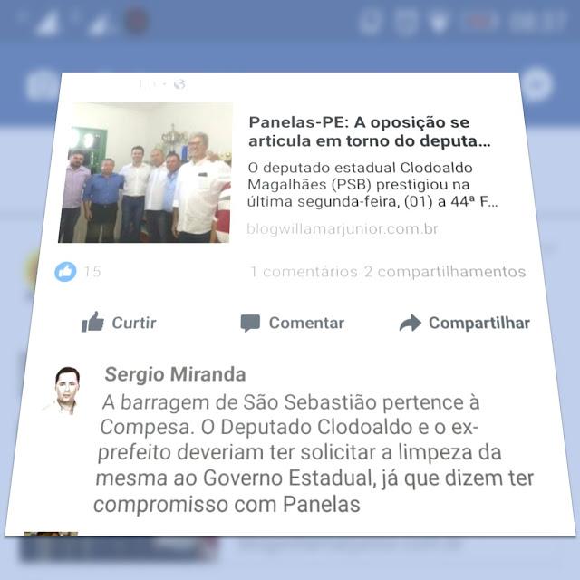 Críticas de ex-prefeitos de Panelas-PE sobre limpeza da barragem
