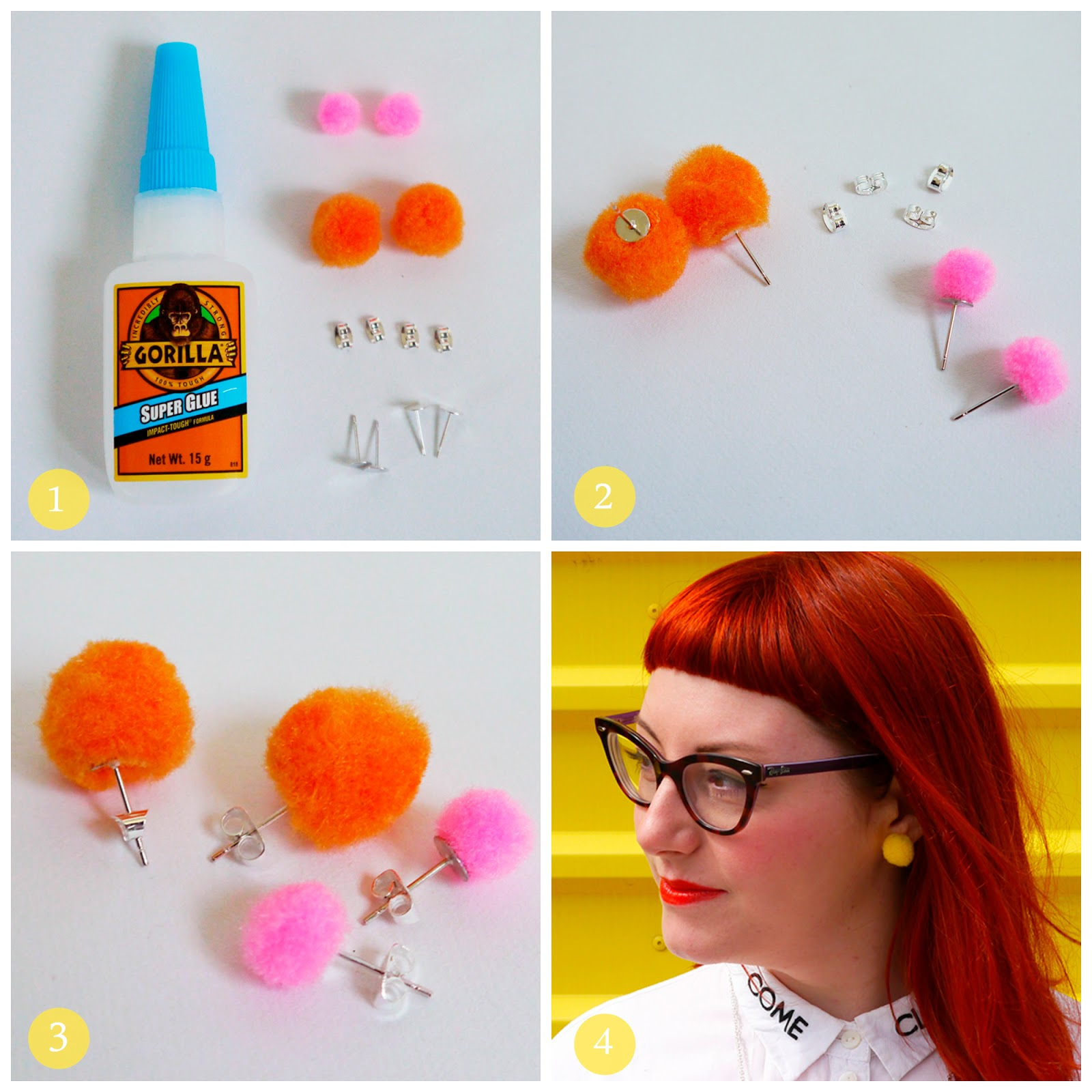 DIY, how to, turtorial, jewellery tutorial, handmade jewellery, step by step guide, pom pom earrings, easy DIY, easy fashion DIY, colourful pom pom earrings