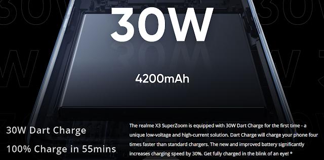 Superzoom Realme x3 30 -watt fast charge.