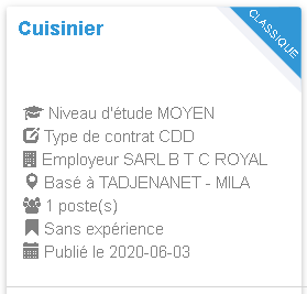 TADJENANET - MILA Cuisinier