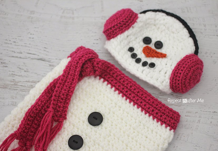 Crochet Snowman Ear Muff Hat And Cocoon Repeat Crafter Me