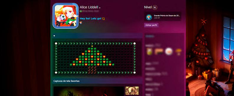 A imagem mostra um print do perfil da steam, rede social e loja de jogos, em que é possível ver o avatar com o chapéu de Natal, além de uma árvore feita de emoticons