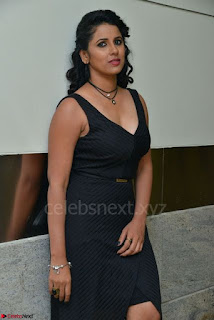 Shraavya Reddy in a Sleeveless Black Deep Neck Gown Spicy Pics 014.jpg