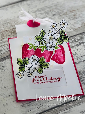 stampin up sweet strawberry pop up slider card