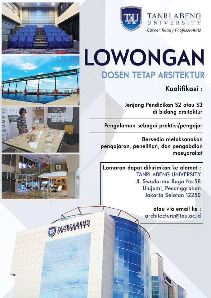 Lowongan Dosen Tetap Arsitektur Universitas Tanri Abeng Jakarta Selatan Lowongan Dosen