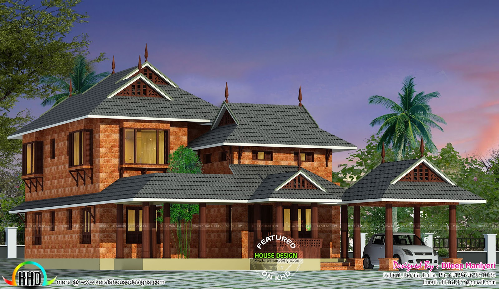 Traditional kerala 4 bedroom 2253 sq ft home kerala home for Traditional house plans in kerala