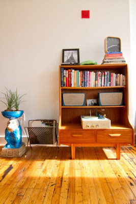 Mid-century bookcases design with drawer