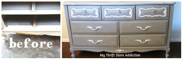 Friday's Find  Vintage Favorites  $10 thrift store dresser  mythriftstoreaddiction.blogspot.com