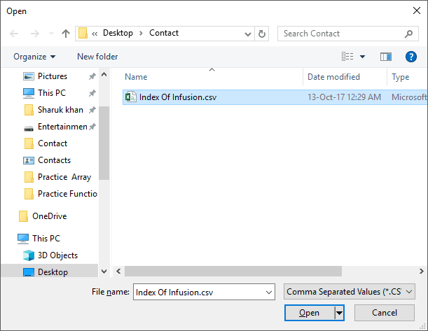 Importing CSV to Windows Contact
