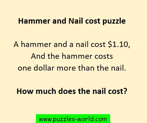 Hammer and Nail cost puzzle