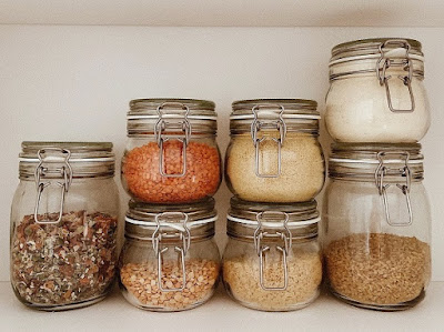 Glass jars in the pantry