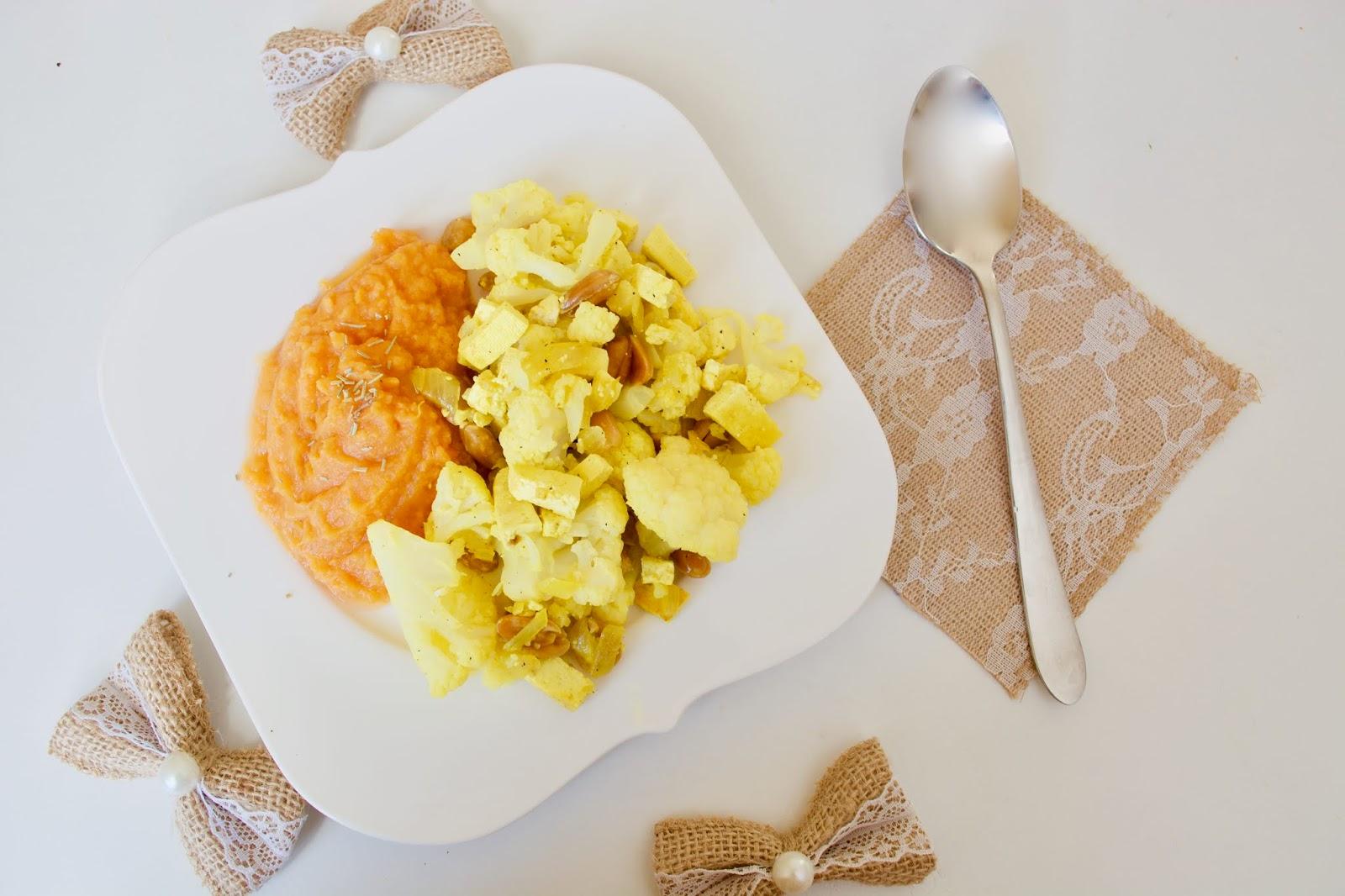 Mashed sweet potato with fried cauliflower