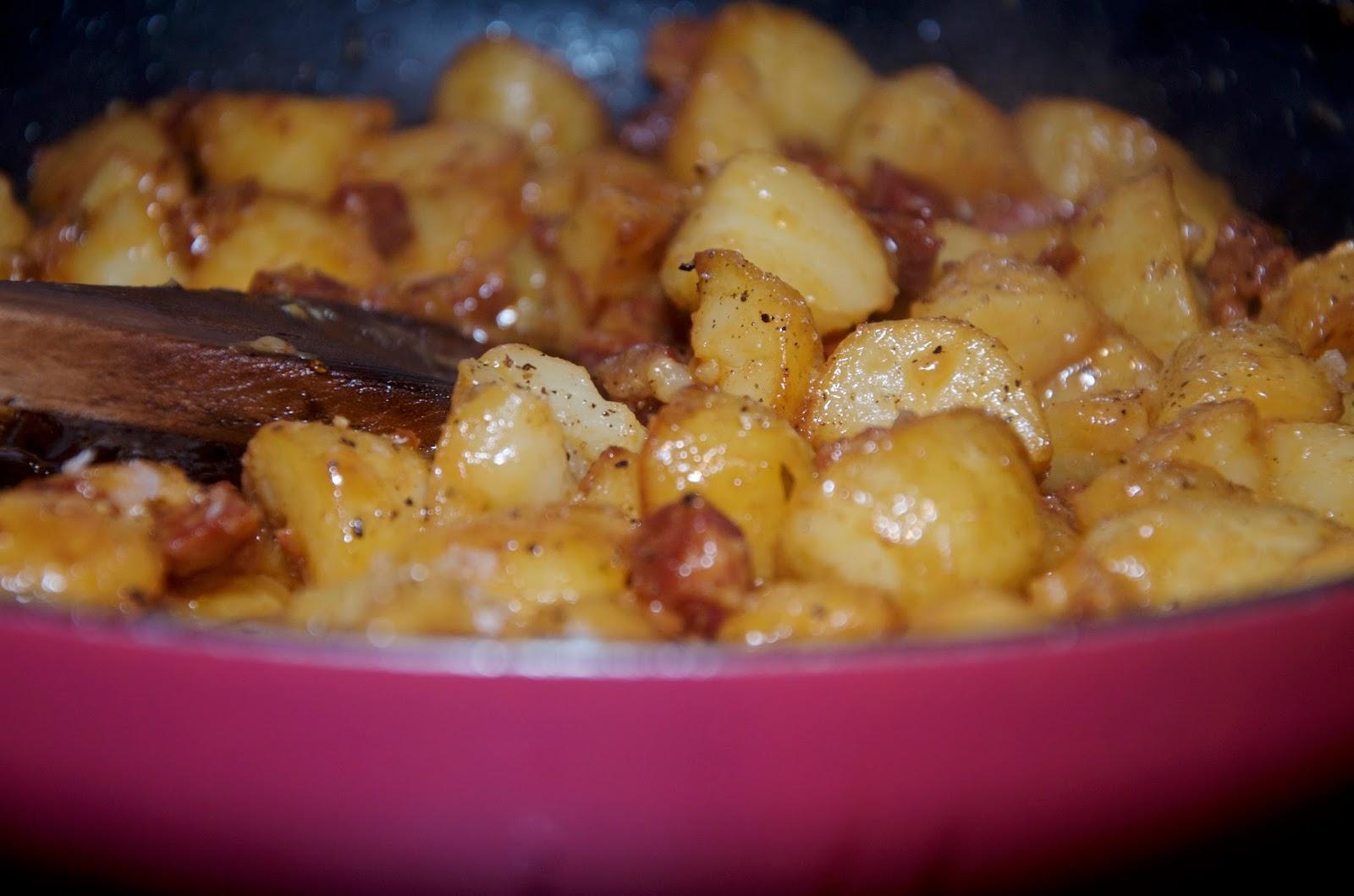 Potatoes and chorizo cooking