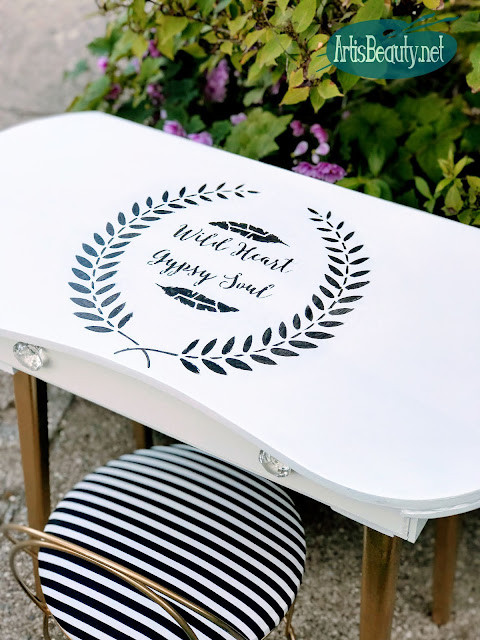 WILD HEART GYPSY SOUL STENCILED VINTAGE DRESSING TABLE MAKEOVER
