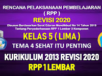 RPP 1 Lembar Kelas 5 Tema 4 SD/MI Kurikulum 2013 Revisi 2020 Tahun Pelajaran 2020 - 2021