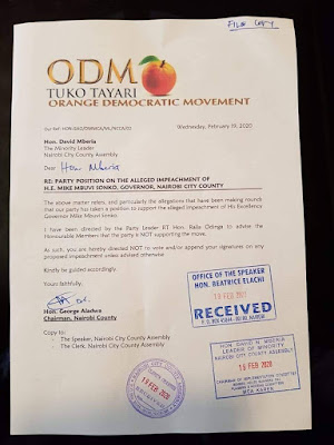ODM letter to the ODM Nairobi MCAs. PHOTO | BMS