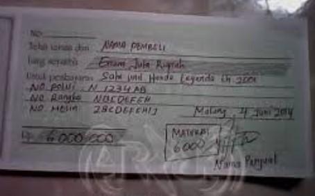 Contoh Kwitansi Transaksi Jual Beli Mobil