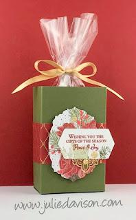 VIDEO Stampin' Up! Christmastime Is Here Half Sheet Treat Box Tutorial ~ www.juliedavison.com