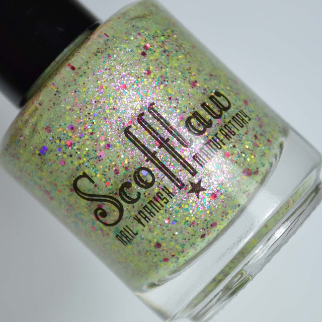 bright green glittery nail polish