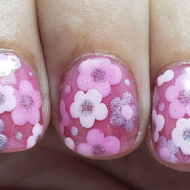 pink flowers, jelly sandwich, jelly nail art, nail art
