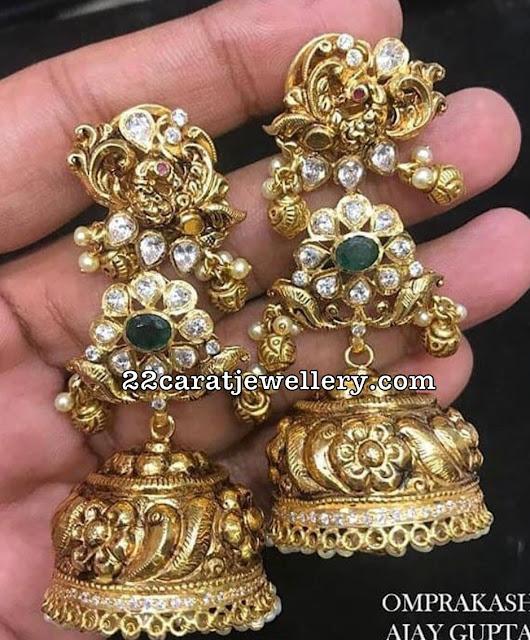 Long Nakshi jhumkas from Omprakash Jewellers