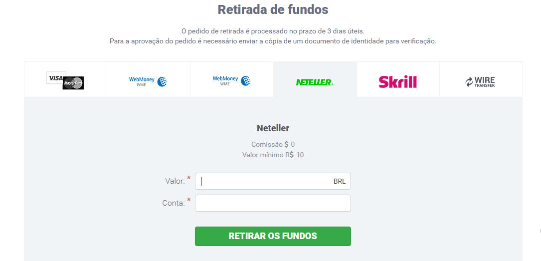 Retiradas na IQ Option
