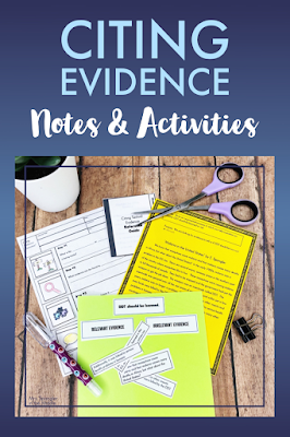 Give your middle school students a 4 step process to follow every time they need to cite evidence!  Combine that with some practice activities and your students will be citing evidence like champs!