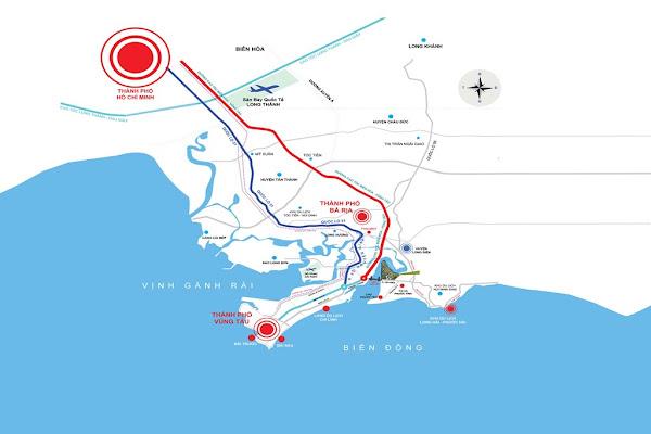 bản đồ đường đi của tuyến cao tốc biên hòa - vũng tàu