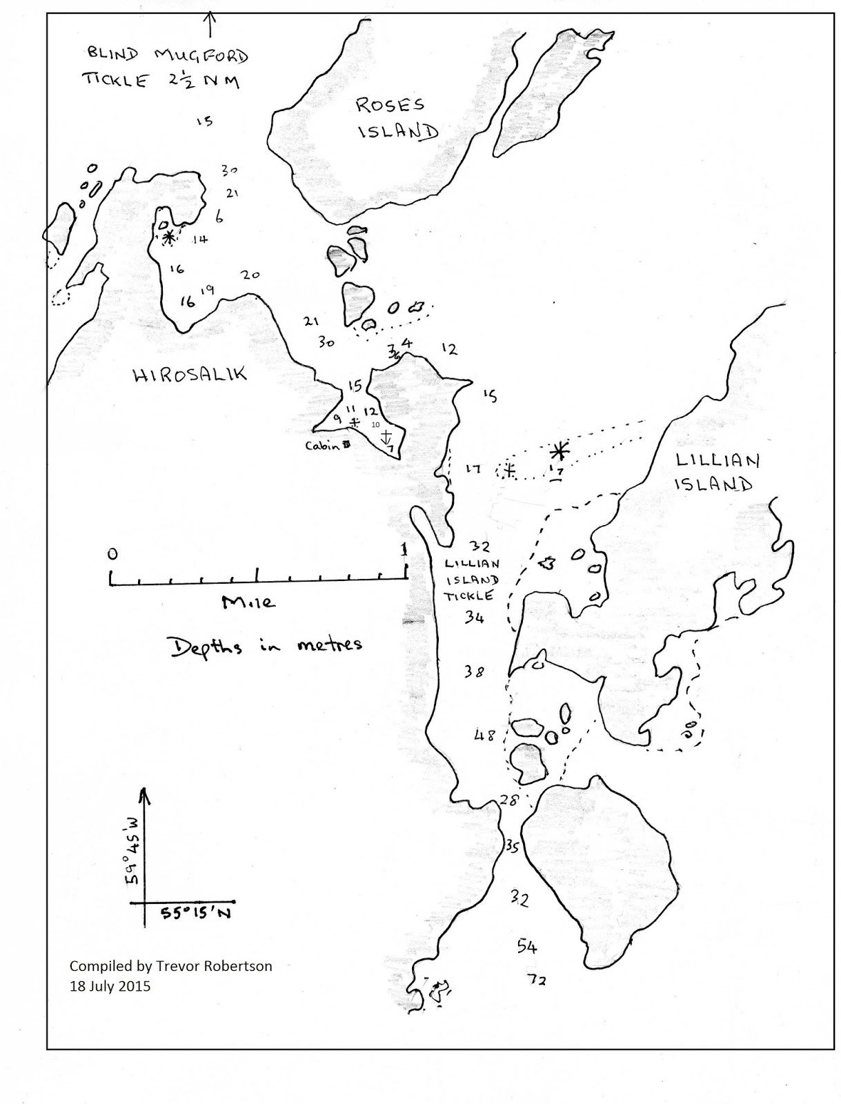 Iron barks travels i spent a night in the roses island anchorage and sounded it for a sketch chart then two days of fair weather allowed me to sail 100nm to tom gears run nvjuhfo Image collections