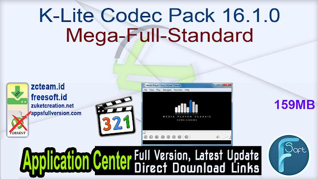 K-Lite Codec Pack 16.1.0 Mega-Full-Standard