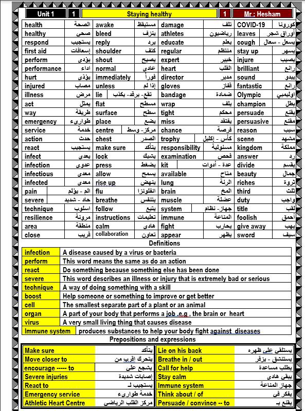 مذكرة الصف الثانى الثانوى (شرح وتدريبات) الترم الاول 2021