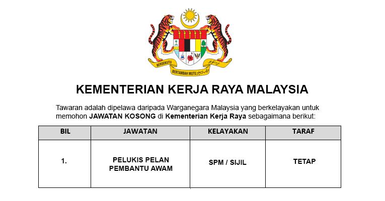 Jawatan Kosong di Kementerian Kerja Raya Malaysia KKR [ 113 Kekosongan Seluruh Malaysia ]