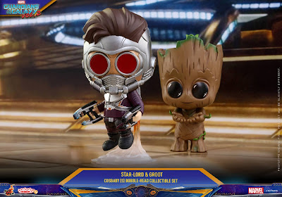 Marvel's Guardians of the Galaxy Vol. 2 Cosbaby Mini Figure 2 Pack by Hot Toys - Flying Jet Pack Star-Lord & Baby Groot